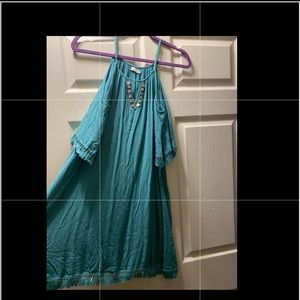 Blue turquoise mini dress tunic silver coin